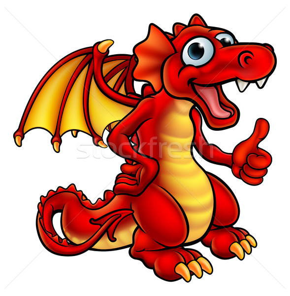 Cartoon Red Dragon Stock photo © Krisdog