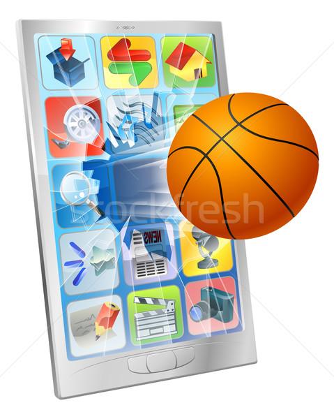 Basketbal bal mobiele telefoon illustratie vliegen uit Stockfoto © Krisdog