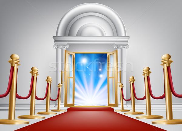 красный ковер вход бархат веревку мрамор дверной проем Сток-фото © Krisdog