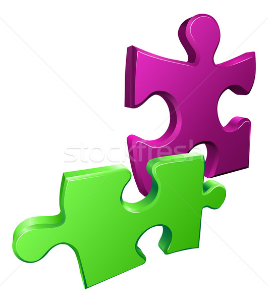 Illustration of shiny jigsaw puzzle pieces icon Stock photo © Krisdog