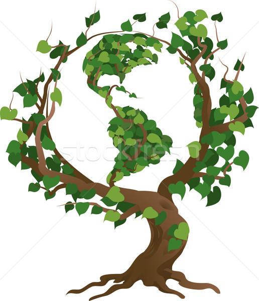 Green world tree vector illustration Stock photo © Krisdog