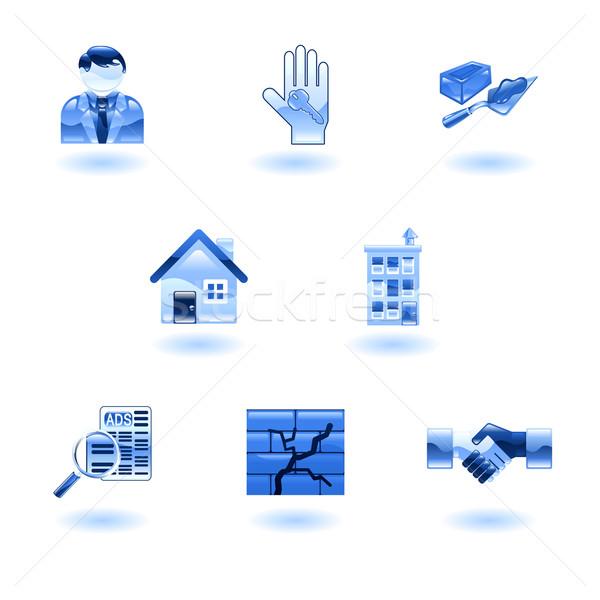 Blue Shiny Real Estate Icons Stock photo © Krisdog