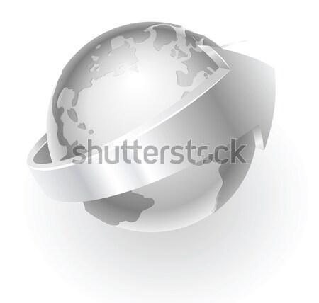 Silber metallic Welt Illustration arrow herum Stock foto © Krisdog