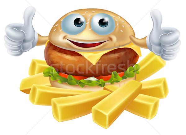 Cartoon hamburger and fries Stock photo © Krisdog