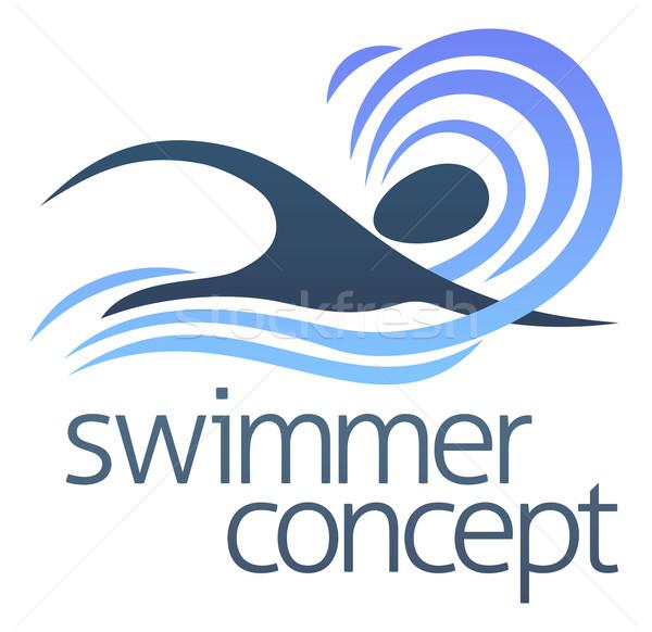 пловец иллюстрация аннотация плаванию волны дизайна Сток-фото © Krisdog