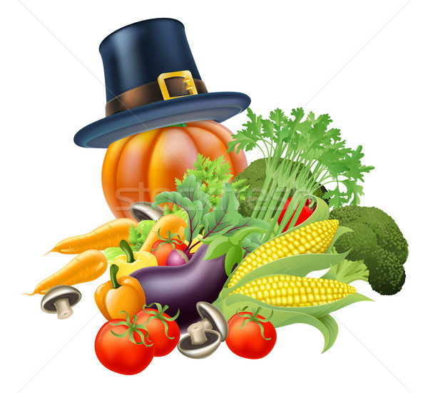 Ringraziamento illustrazione verdura zucca indossare Foto d'archivio © Krisdog