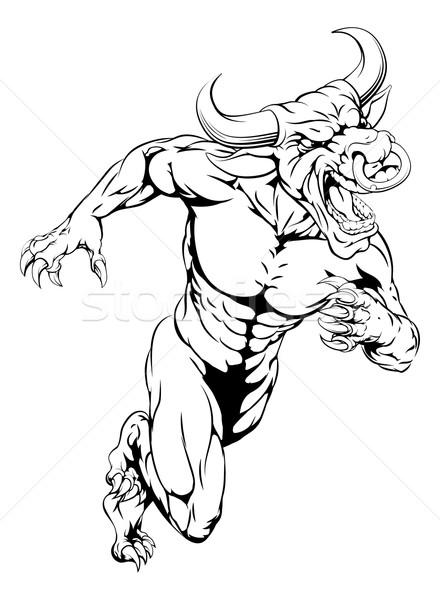 Bull mascot sprinting Stock photo © Krisdog