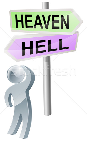 Menny pokol döntés személy gyártmány felfelé néz Stock fotó © Krisdog
