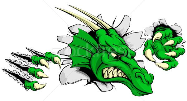 Dragon ripping through background Stock photo © Krisdog