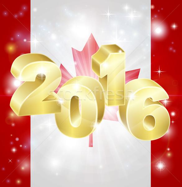 Drapeau canadien 2016 sur feux d'artifice nouvelle année passionnant Photo stock © Krisdog