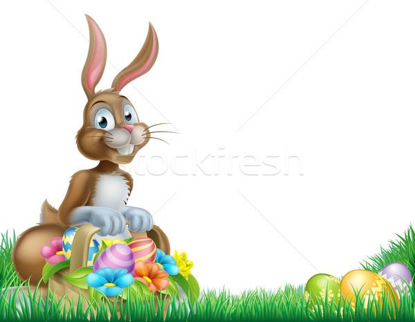 Rajz húsvéti tojás kosár vadászat nyuszi húsvéti nyuszi Stock fotó © Krisdog