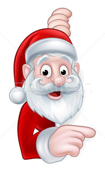 Santa Pointing Cartoon Sign Stock photo © Krisdog
