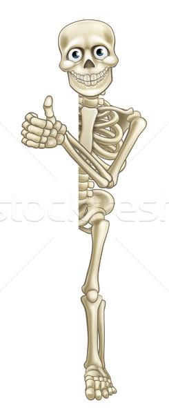 Cartoon Skeleton Thumbs Up Halloween Sign Stock photo © Krisdog