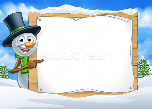 Cartoon Snowman Sign Scene Stock photo © Krisdog