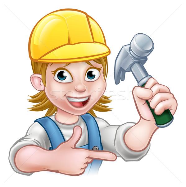 Female Carpenter Woman Cartoon Character Stock photo © Krisdog