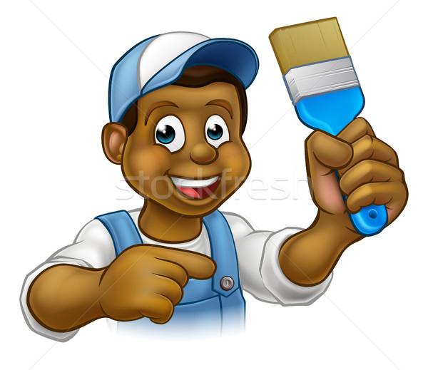 Cartoon Black Painter Decorator Stock photo © Krisdog