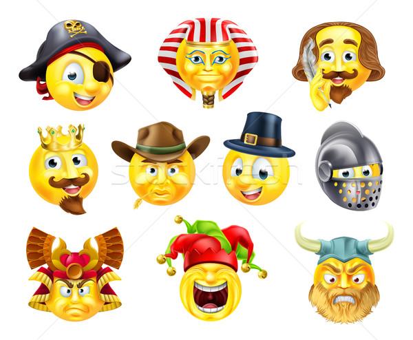 History Emoji Emoticon Set Stock photo © Krisdog
