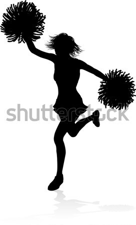Woman action hero in gun fight silhouette Stock photo © Krisdog