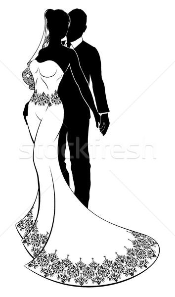 Bride and Groom Wedding Couple Silhouettes Stock photo © Krisdog