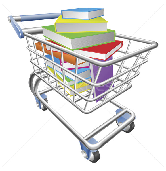 Shopping trolley cart full of books concept Stock photo © Krisdog