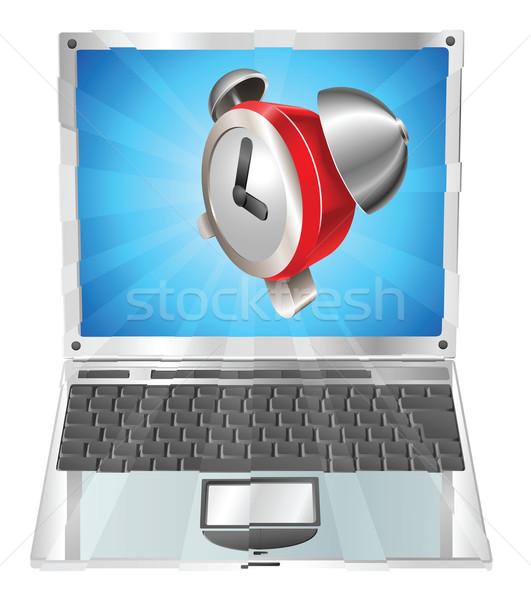 Wekker icon laptop uit scherm computer Stockfoto © Krisdog