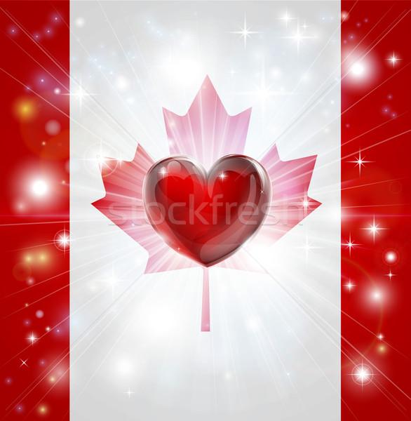 Love Canada flag heart background Stock photo © Krisdog