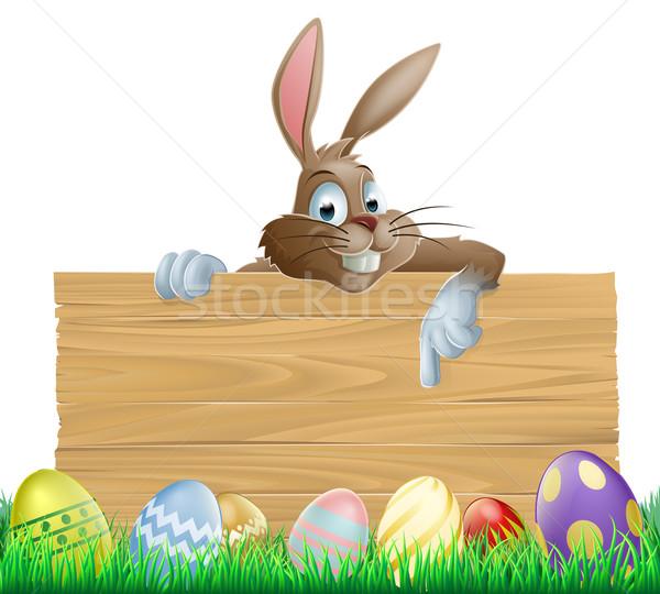 Stockfoto: Bunny · karakter · wijzend · paaseieren · Easter · Bunny · houten