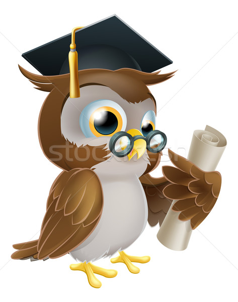 Stock photo: Owl with degree or qualification