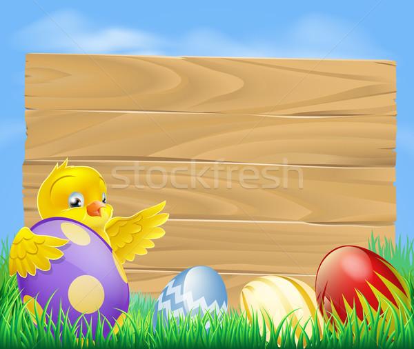 Húsvét tyúk csokoládé festett tojások citromsárga Stock fotó © Krisdog