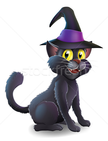 Halloween Witch Cat Stock photo © Krisdog