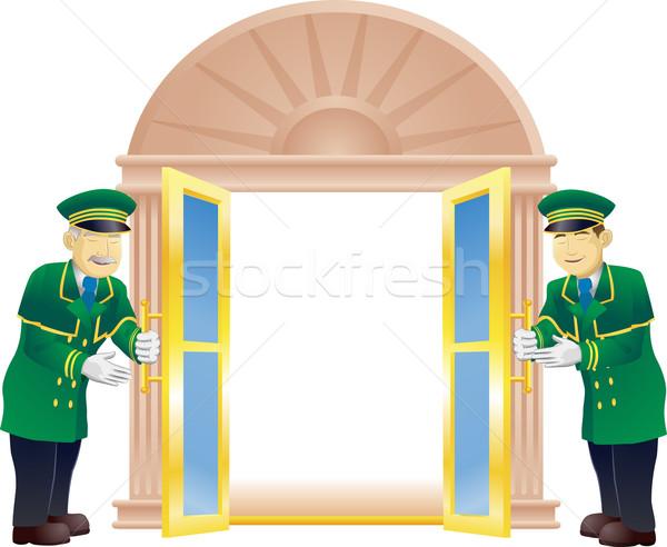 Tart ajtó nyitva ahogy férfi férfiak Stock fotó © Krisdog
