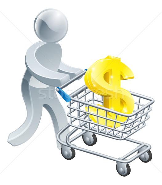 Person pushing trolley with dollar sign Stock photo © Krisdog