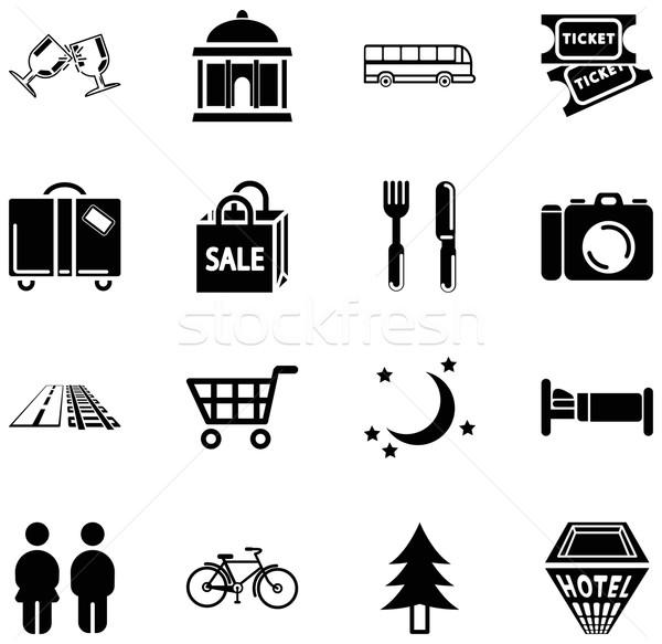 Plaats toerisme iconen stad informatie Stockfoto © Krisdog