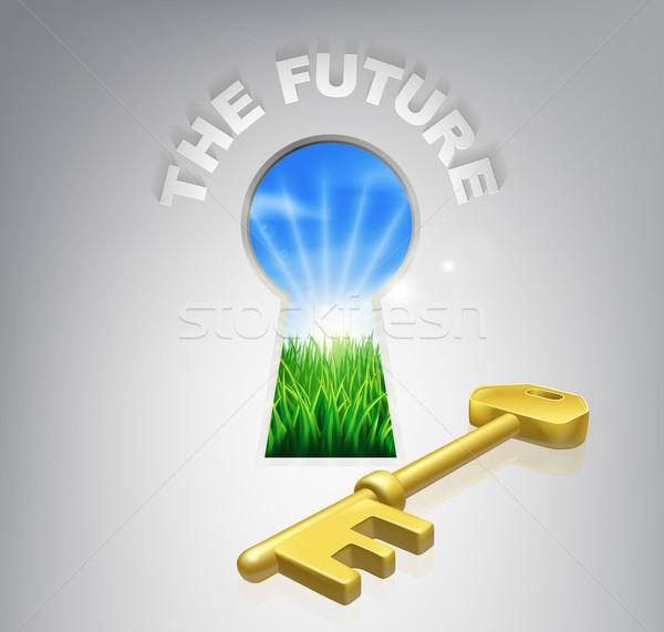 Sleutel roem illustratie chique naar deur Stockfoto © Krisdog