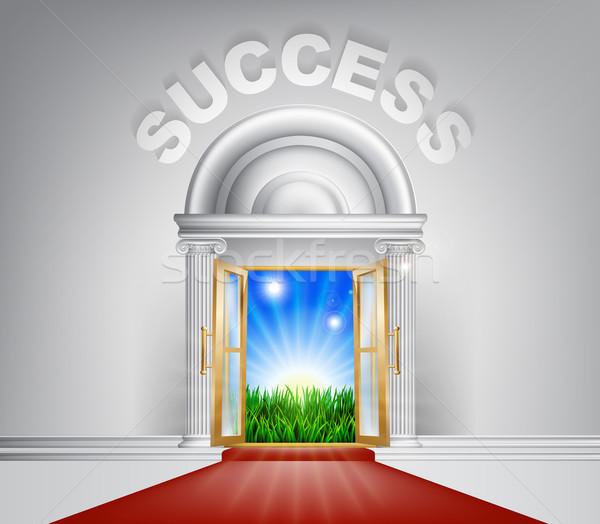 Sukces drzwi ilustracja szykowny patrząc czerwonym dywanie Zdjęcia stock © Krisdog