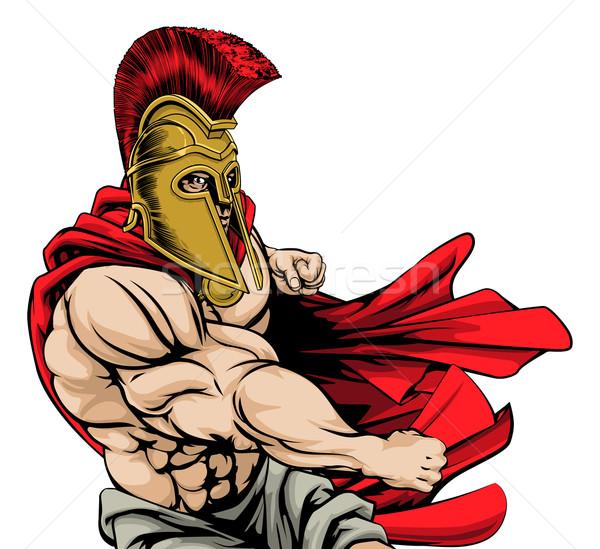 Spartanisch Maskottchen zäh muskuläre Zeichen rot Stock foto © Krisdog