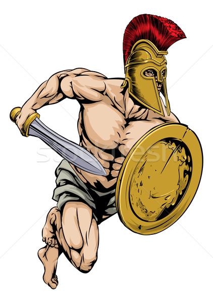 Gladiator krijger sport mascotte illustratie karakter Stockfoto © Krisdog