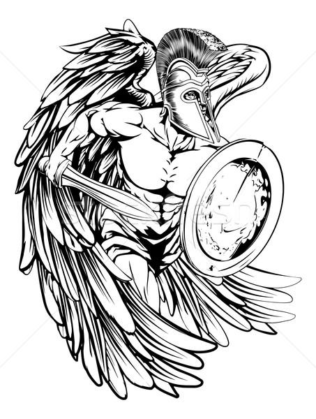 Angyal páncél illusztráció harcos karakter sportok Stock fotó © Krisdog