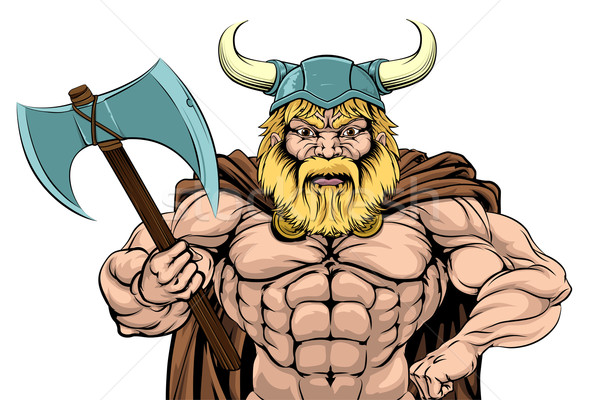 Viking Warrior Holding Axe Stock photo © Krisdog
