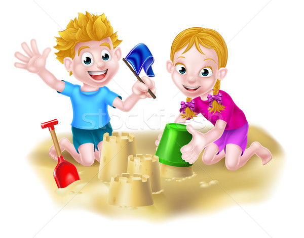 Boy and Girl Playing in the Sand Stock photo © Krisdog