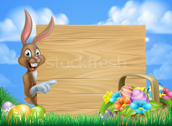 Easter Bunny teken cartoon Pasen mand vol Stockfoto © Krisdog