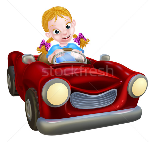 Cartoon Girl Driving Car Stock photo © Krisdog