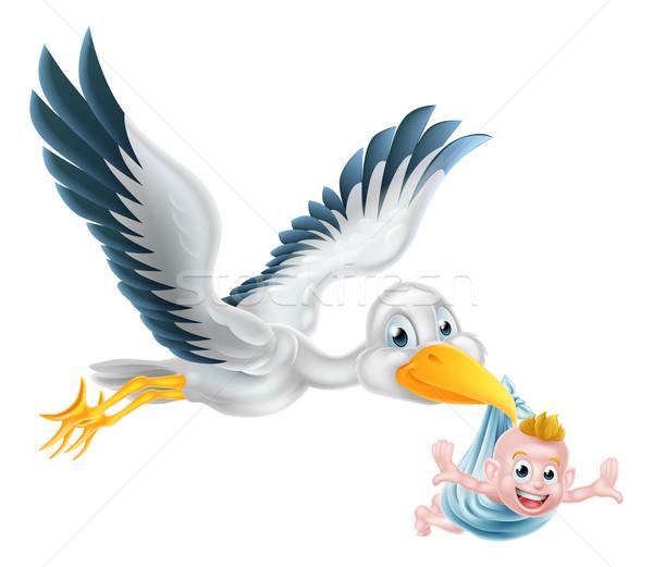 Storch Vogel unter halten neu geboren Baby Stock foto © Krisdog