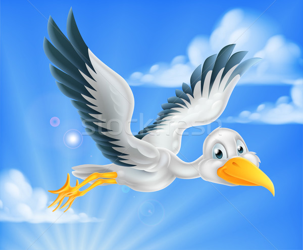 Cartoon stork bird animal character Stock photo © Krisdog