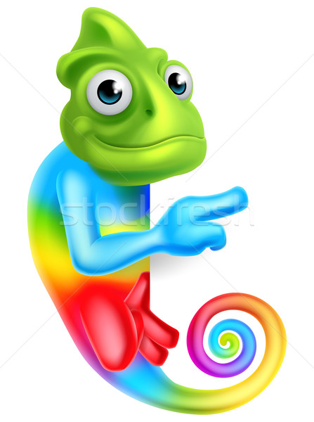 Cartoon Rainbow Chameleon Pointing Stock photo © Krisdog