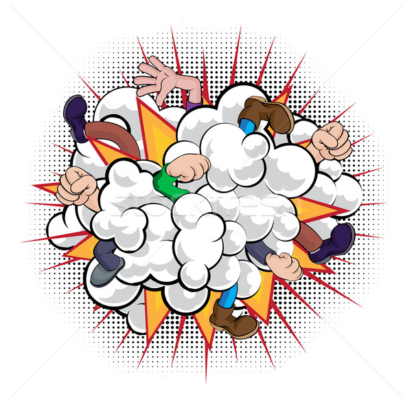 Cartoon Comic Book Fight Dust Cloud Stock photo © Krisdog