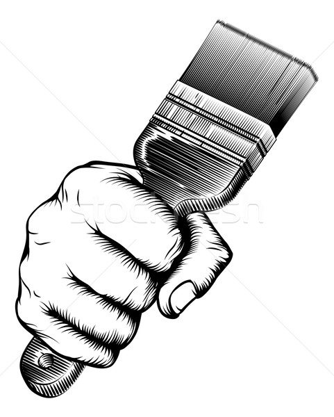 Paintbrush Woodcut Fist Hand Stock photo © Krisdog