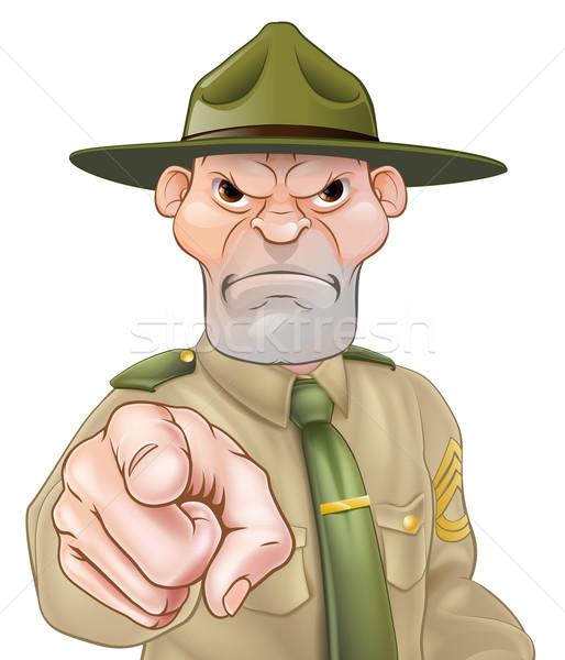 дрель сержант указывая сердиться Cartoon армии Сток-фото © Krisdog