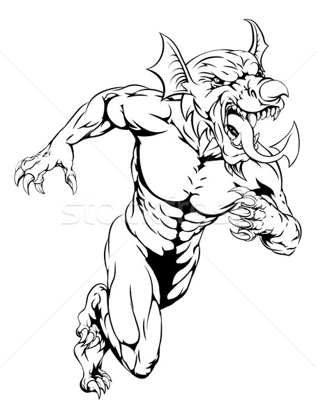 Welsh dragon mascot running Stock photo © Krisdog