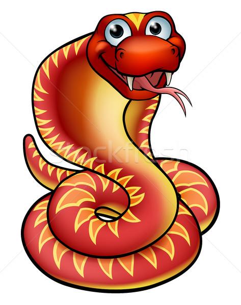 Desenho animado cobra serpente amigável vermelho Foto stock © Krisdog